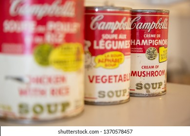 Selkirk, Manitoba/Canada - 07/07/17: A selection of vintage Campbells soup tin cans