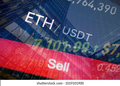 Sell etherium time cryptocurrency price on stock and financial exchange illustration