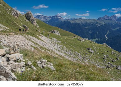 Sella mountain group and Marmolada mssif with Punta Penia and Gran Vernel as seen on trail 549 from Paolina refuge to Roda di Vael refuge, Catinaccio/Rosengarten mountain group, Dolomites, Italy