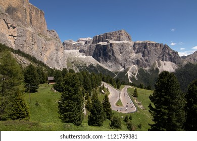Sella Ronda Bike Day 2018 Cycling Alps Dolomites Mountains South Tyrol Trentino Alto Adige  alpine regions of Italy