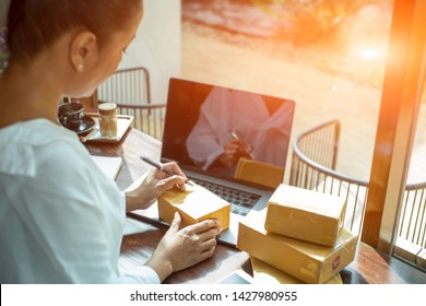 The seller are preparing products to deliver to their customers,sales,Online shopping is a form of electronic commerce that allows consumers to directly buy goods from a seller over the internet.