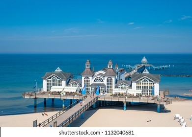 SELLIN, GERMANY - JUNE 23, 2016: Pier in Sellin on the island of Rügen at the Baltic Sea