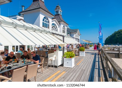 SELLIN, GERMANY - JUNE 23, 2016: Restaurant on the pier in Sellin on the island of Rügen at the Baltic Sea