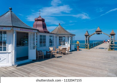 SELLIN, GERMANY - JUNE 23, 2016: Kiosk on the pier in Sellin on the island of Rügen at the Baltic Sea