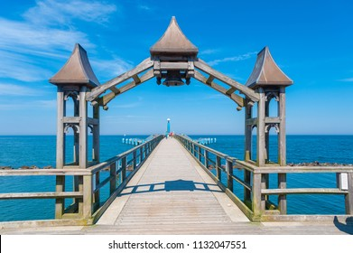 SELLIN, GERMANY - JUNE 23, 2016: Detail of the pier in Sellin on the island of Rügen at the Baltic Sea