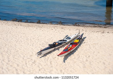 SELLIN, GERMANY - JUNE 23, 2016: Kayak at the beach in Sellin on the island of Rügen at the Baltic Sea