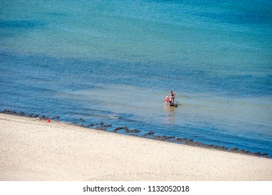 SELLIN, GERMANY - JUNE 23, 2016: Beach in Sellin on the island of Rügen at the Baltic Sea
