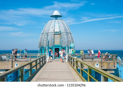 SELLIN, GERMANY - JUNE 23, 2016: Pier with diving gondola in Sellin on the island of Rügen at the Baltic Sea