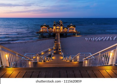 Sellin, Germany - May 09, 2018: pier in Sellin at night. Sellin has the longest pier on Ruegen, with 394 meters
