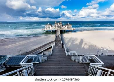 Sellin pier, Ruegen island, Germany. Blue cloudy sky