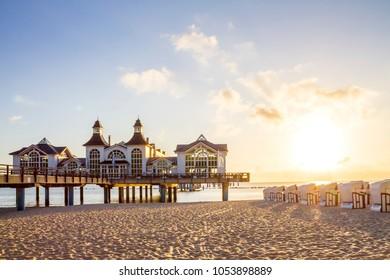 Sellin, Pier, Sunset, Germany