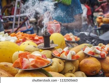 Selling fresh fruits on street in Jaipur, India.