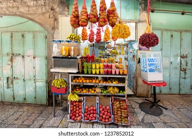 Selling juice in the old city of Jerusalem, Israel.