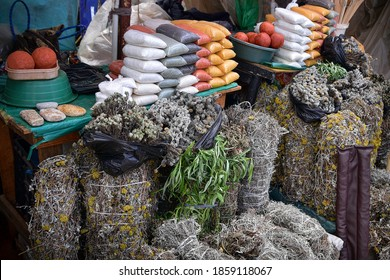 Selling spices and herbs at the local African market in Manzini, Swaziland, Kingdom of Eswatini Swazi