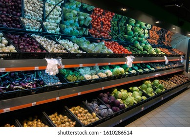 selling vegetables in a supermarket