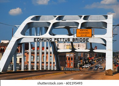 Selma, AL, USA September 14, 2011 The Edmund Pettus Bridge in Selma Alabama was the sight of a bloody conflict during Martin Luther Kings March to Montgomery.  It is now a Civil Rights Landmark.