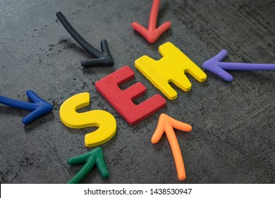 SEM Search Engine Marketing, bidding on search result page to promote website online, multi color arrows pointing to the word SEM at the center of black cement chalkboard wall, strategy with SEO.