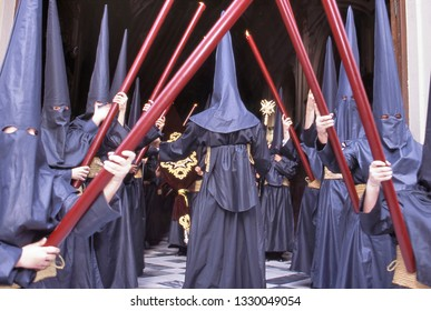 Semana Santa procession (Holy week) in Spain. This photo shows the procession participants also called Nazarenos