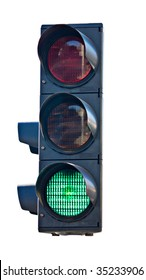 semaphore traffic light signal isolated on white background