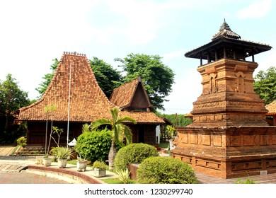 Semarang, 15 October 2018: Joglo Kudus (Java Traditional House) and Kudus Minaret artificial at PRPP Semarang, Central Java, Indonesia.