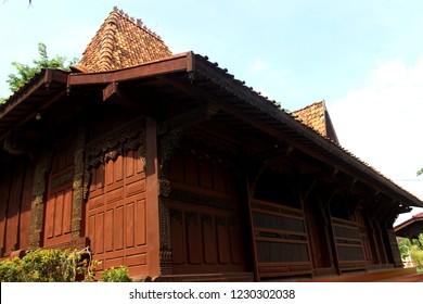 Semarang, 15 October 2018: Joglo Kudus, Java Traditional House at Maerokoco Park, Semarang city, Central Java, Indonesia.