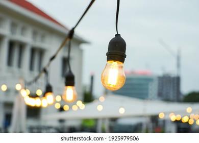Semarang, 28 Februari 2021, Unique Lamp cafe with bokeh