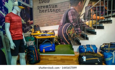 SEMARANG, Central Java - April 1st 2019 : Eiger is the most renowned company in Indonesia specialized in manufacturing and retailing adventure equipments and was inspired by mount Eiger, Switzerland.