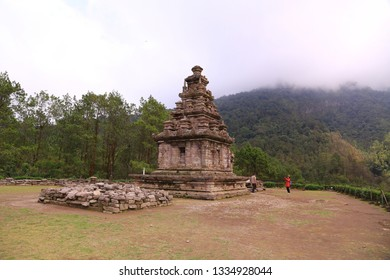 Semarang, Central Java/ Indonesia - February 18, 2019 : Gedong Songo Temple is located on the slopes of Ungaran Mountain, fresh weather, shady place make one of the family's favorite vacation spots