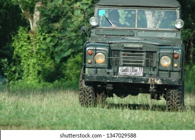 Semarang, Central Java, Indonesia. January 17 - 2016. Old classic 4x4 landrover series