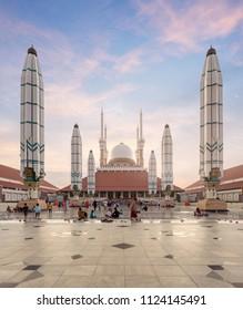 Semarang, Central Java / Indonesia - June 19 2018: Afternoon Atmosphere at Masjid Agung Jawa Tengah