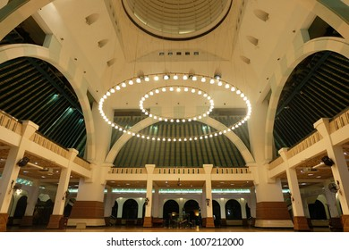 Semarang, Central Java, Indonesia - September 11, 2016 - Inside the Great Mosque of Central Java.
