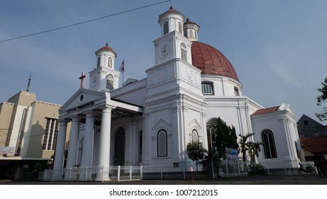Semarang, Central Java, Indonesia - September 11, 2016 - the front of Blenduk Church in Kota Lama, Semarang.