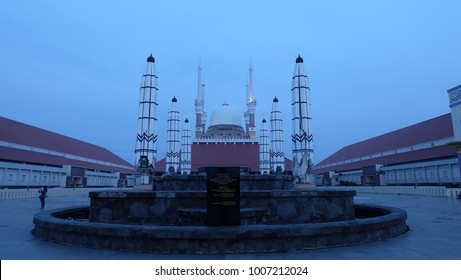 Semarang, Central Java, Indonesia - September 11, 2016 - Outside the Great Mosque of Central Java.