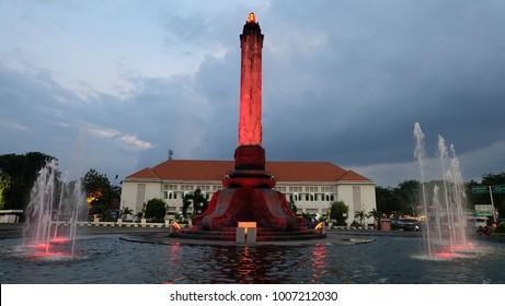 Semarang, Central Java, Indonesia - September 11, 2016 - Tugu Muda Semarang in red color.
