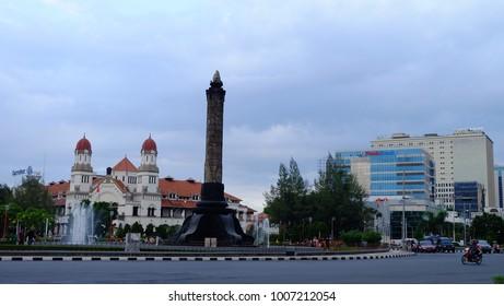 Semarang, Central Java, Indonesia - September 11, 2016 - Tugu Muda Monument and Lawang Sewu Museum as the two main icons of Semarang city.