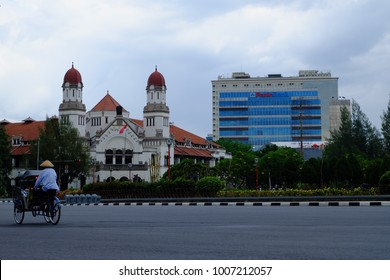 Semarang, Central Java, Indonesia - September 11, 2016 - Tugu Muda Monument and Lawang Sewu Museum as the two main icons of Semarang city.