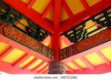 Semarang, Central Java, Indonesia - September 11, 2016 - Sam Po Kong Temple is a major tourist destination in the city of Semarang. This is the interior.