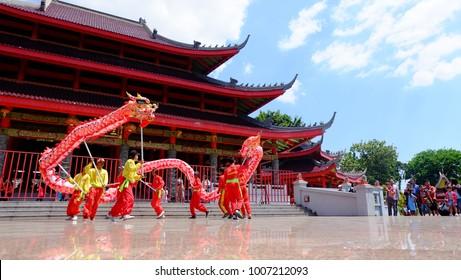 Semarang, Central Java, Indonesia - September 11, 2016 - Sam Po Kong Temple is a major tourist destination in the city of Semarang.