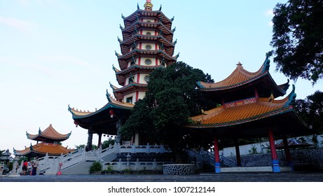 Semarang, Central Java, Indonesia - September 11, 2016 - Pagoda Avalokitesvara Buddhagaya Watugong is a major tourist destination in the city of Semarang.