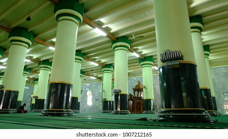 Semarang, Central Java, Indonesia - September 11, 2016 - the interior of Semarang Great Mosque.