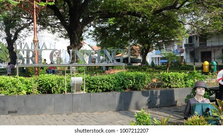 Semarang, Central Java, Indonesia - September 11, 2016 - the quiet atmosphere in the old town of Semarang. This is a Srigunting park