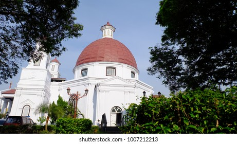 Semarang, Central Java, Indonesia - September 11, 2016 - the side view of Blenduk Church in Kota Lama, Semarang.
