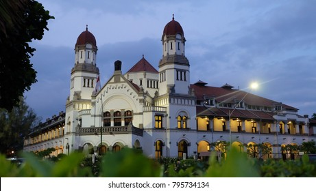 Semarang, Central Java, Indonesia - September 11, 2016 - the front of Lawang Sewu Building in the afternoon.
