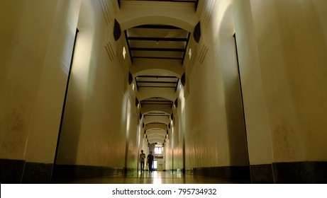 Semarang, Central Java, Indonesia - September 11, 2016 - the inside of the  Lawang Sewu's Building.