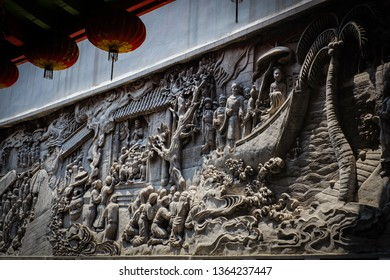 Semarang City, Central Java / Indonesia - January 9th 2016:wall statue about the history of Admiral Zheng He travel from China and arrived at Semarang, Indonesia around year 1400-1416 at Sam Poo Kong