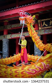 Semarang City, Central Java / Indonesia - January 9th 2016 : Barongsai or Chinese Lion Dance show in front of Thao Tee Kong Temple at Sam Po Kong Temple.