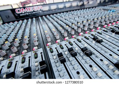 Semarang, Indonesia - 31st 05 2014: Sound Mixer Equalizer Panel for Music Concert