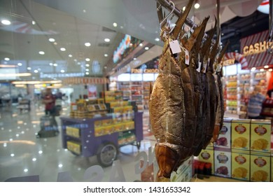 Semarang, Indonesia - ca 2018: soft bone milkfish, processed food from fish sold in shops around airports