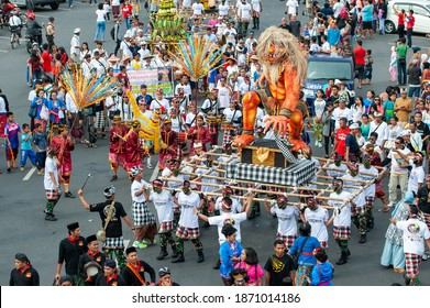 Semarang, Indonesia - Circa 2017 : Ogoh-Ogoh Festival in Semarang Indonesia. many local citizen watched on the road