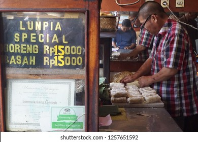 Semarang, Indonesia. December 02 2018. Lumpia making process. Lumpia /lunpia is a spring roll of Chinese origin commonly found in Indonesia.